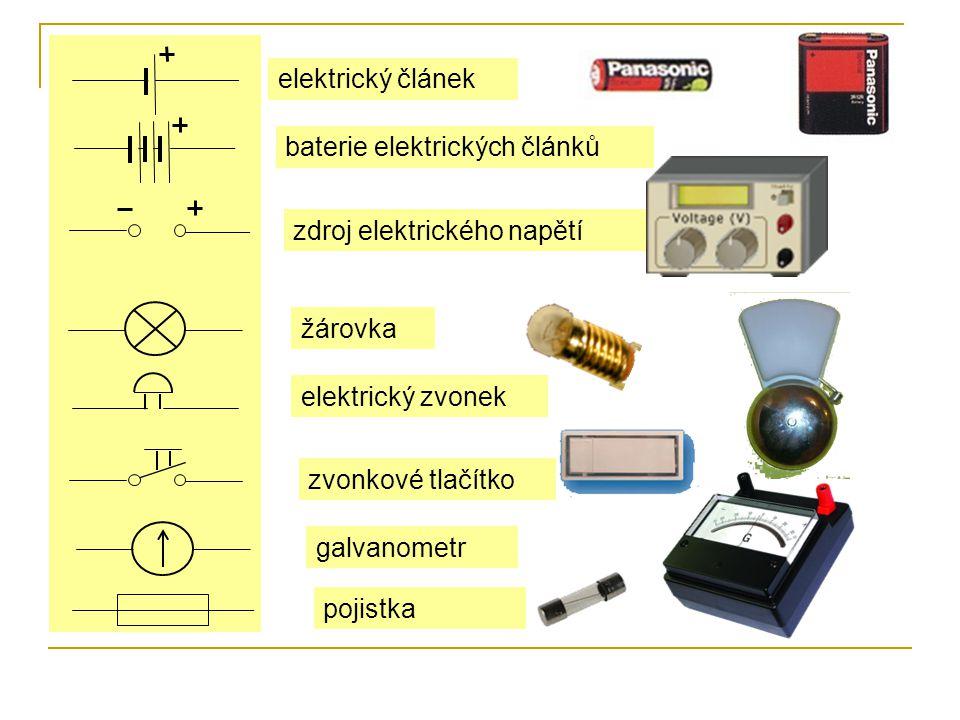 elektrický článek baterie elektrických článků. zdroj elektrického napětí. žárovka. elektrický zvonek.