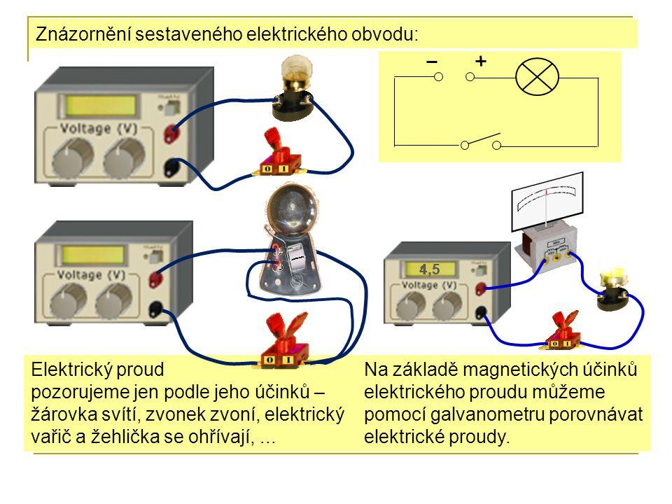 Znázornění sestaveného elektrického obvodu: