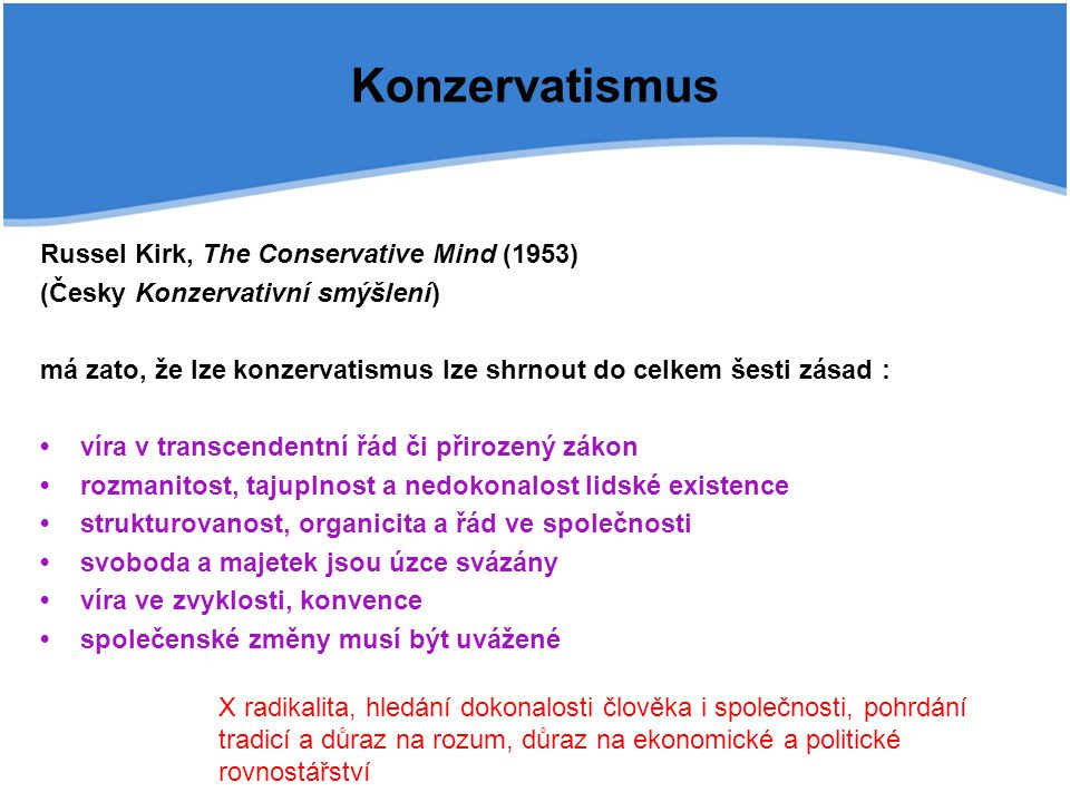 Konzervatismus Russel Kirk, The Conservative Mind (1953)