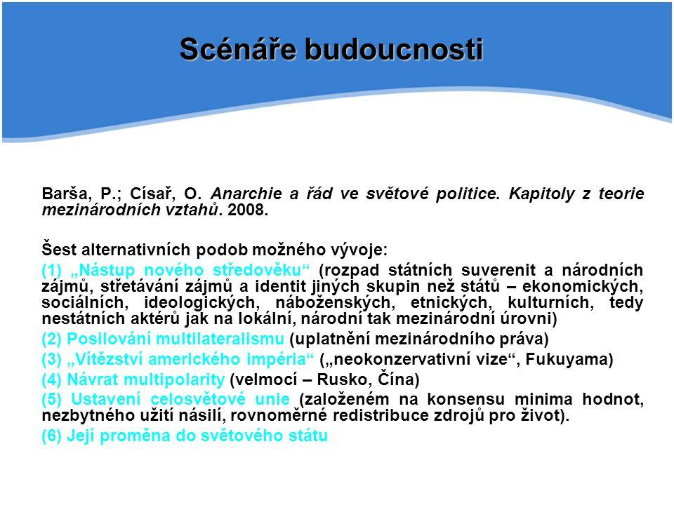 Scénáře budoucnosti Barša, P.; Císař, O. Anarchie a řád ve světové politice. Kapitoly z teorie mezinárodních vztahů. 2008.