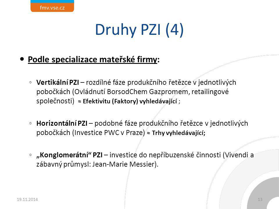 Druhy PZI (4) Podle specializace mateřské firmy: