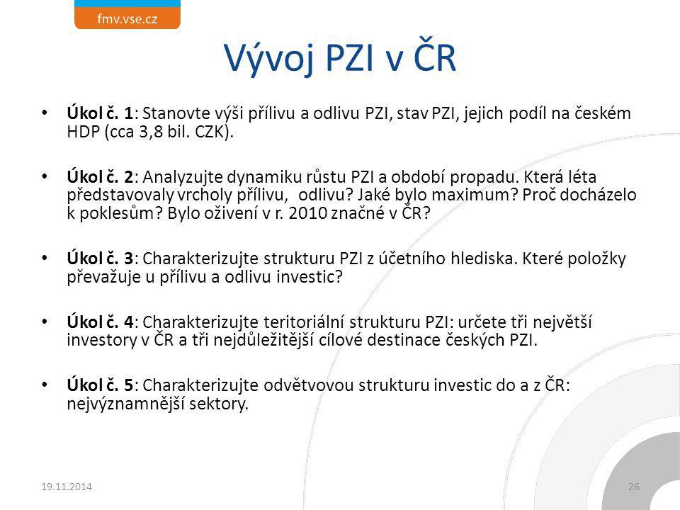 Vývoj PZI v ČR Úkol č. 1: Stanovte výši přílivu a odlivu PZI, stav PZI, jejich podíl na českém HDP (cca 3,8 bil. CZK).