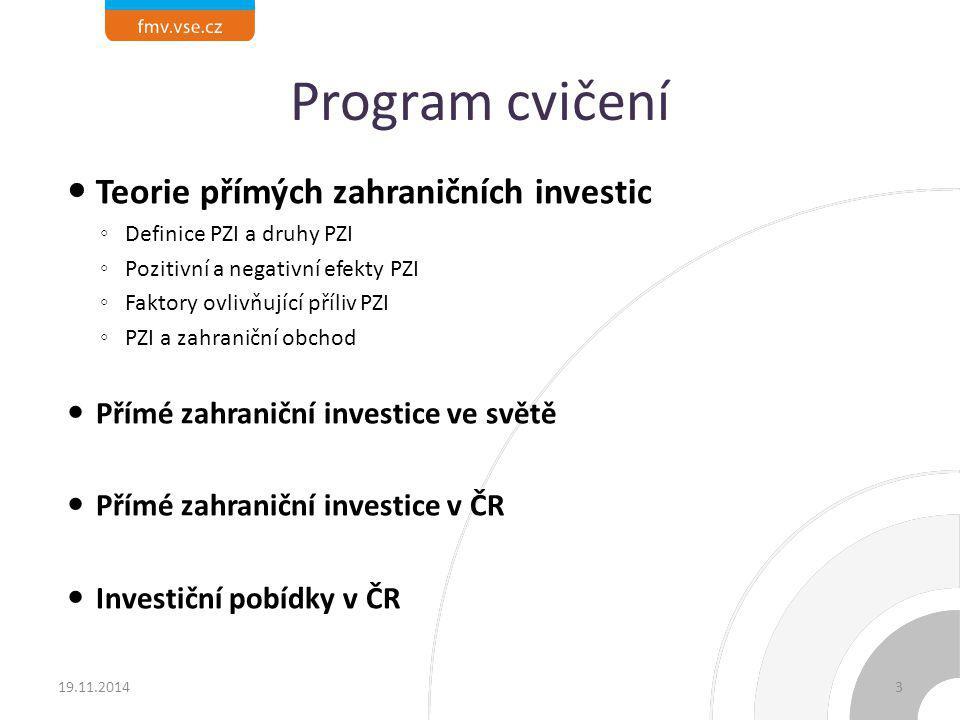 Program cvičení Teorie přímých zahraničních investic
