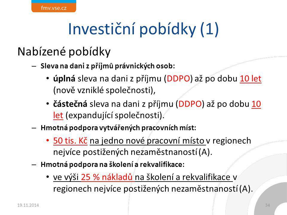 Investiční pobídky (1) Nabízené pobídky