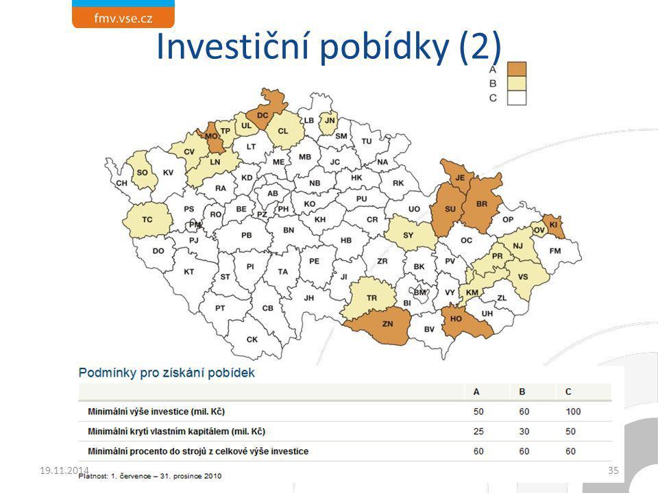 Investiční pobídky (2) 19.11.2014