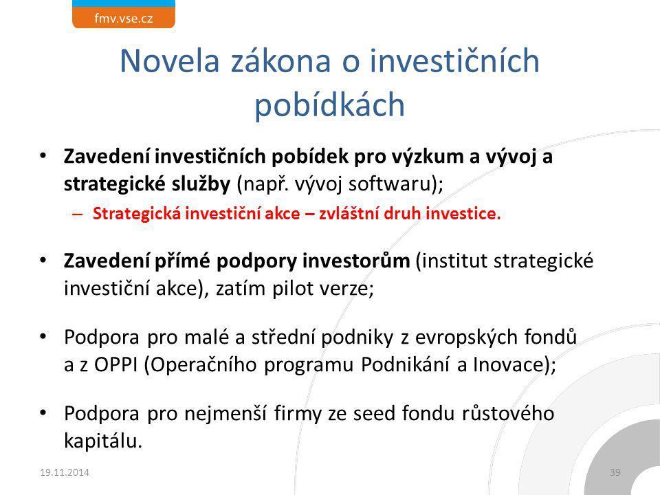 Novela zákona o investičních pobídkách