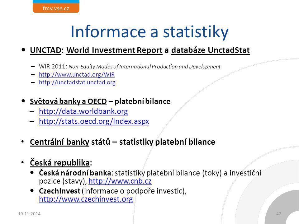 Informace a statistiky