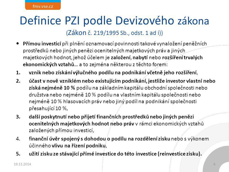 Definice PZI podle Devizového zákona (Zákon č. 219/1995 Sb. , odst