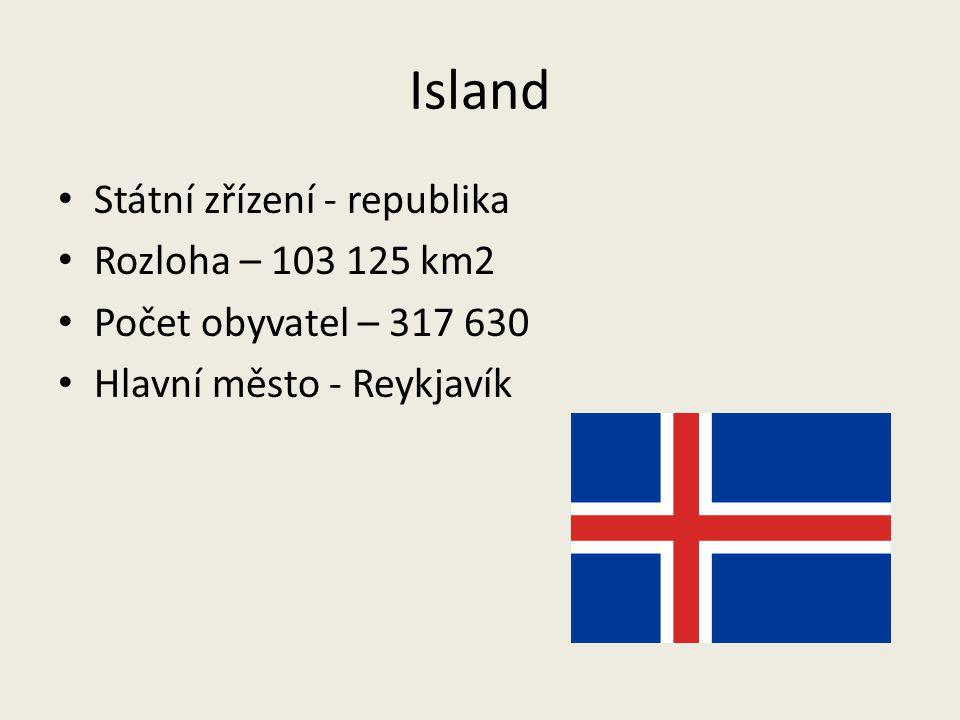 Island Státní zřízení - republika Rozloha – 103 125 km2