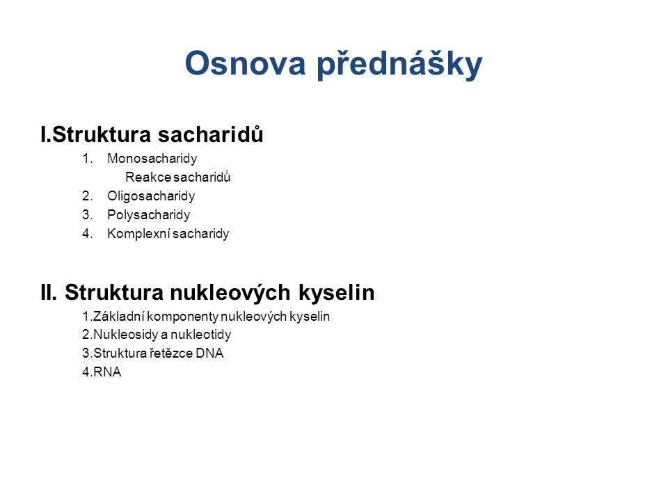 Osnova přednášky I.Struktura sacharidů