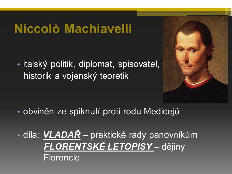 Niccolò Machiavelli italský politik, diplomat, spisovatel,