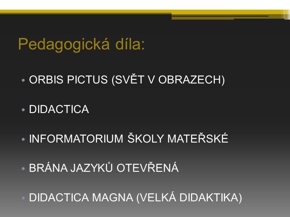 Pedagogická díla: ORBIS PICTUS (SVĚT V OBRAZECH) DIDACTICA
