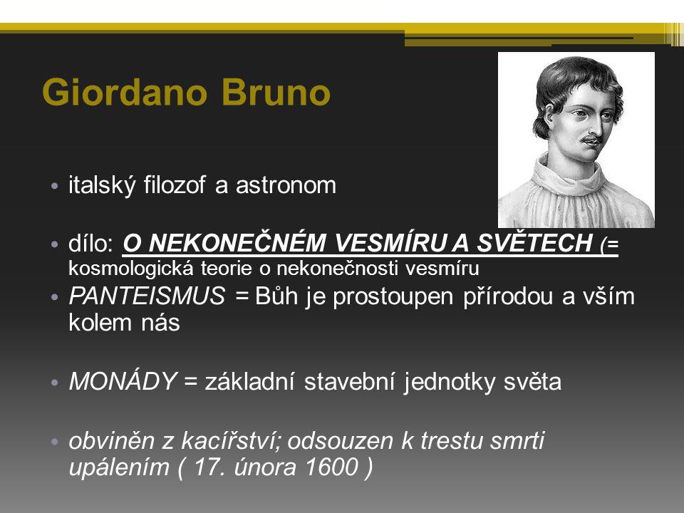 Giordano Bruno italský filozof a astronom