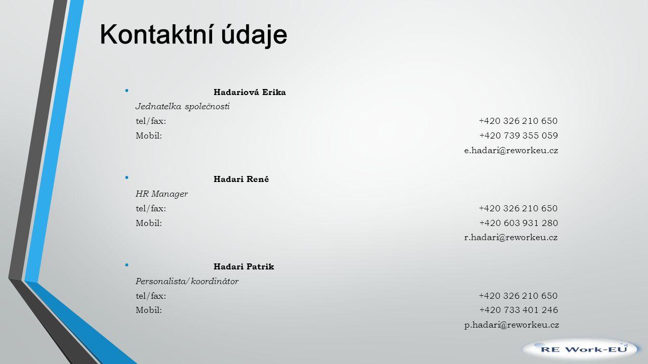 Kontaktní údaje Hadariová Erika Jednatelka společnosti