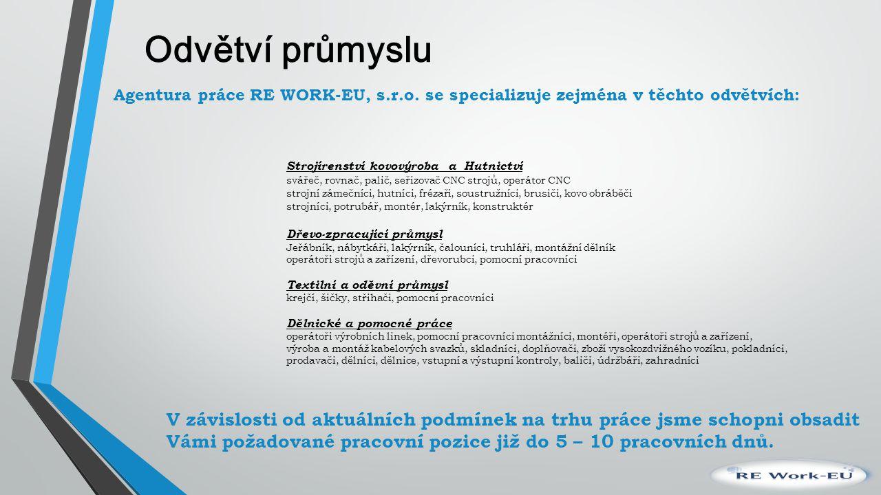 Odvětví průmyslu Agentura práce RE WORK-EU, s. r. o