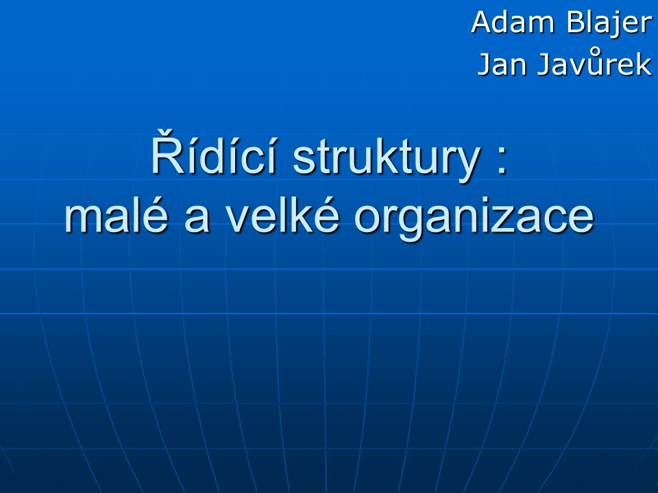 Řídící struktury : malé a velké organizace