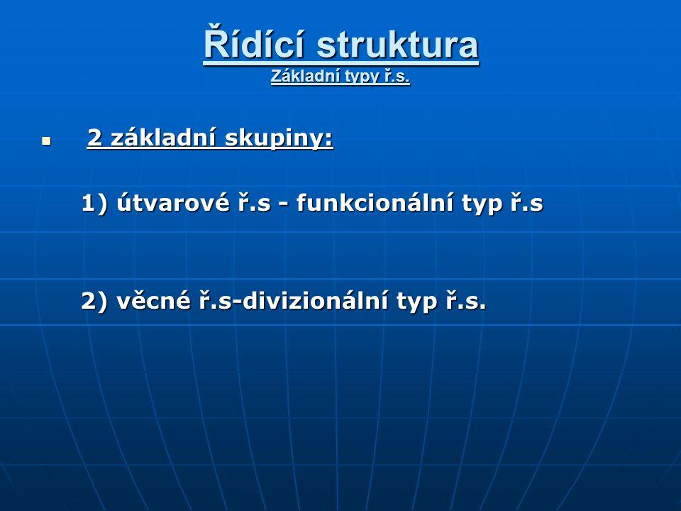 Řídící struktura Základní typy ř.s.