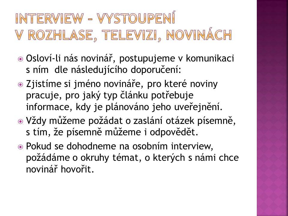 Interview – vystoupení v rozhlase, televizi, novinách