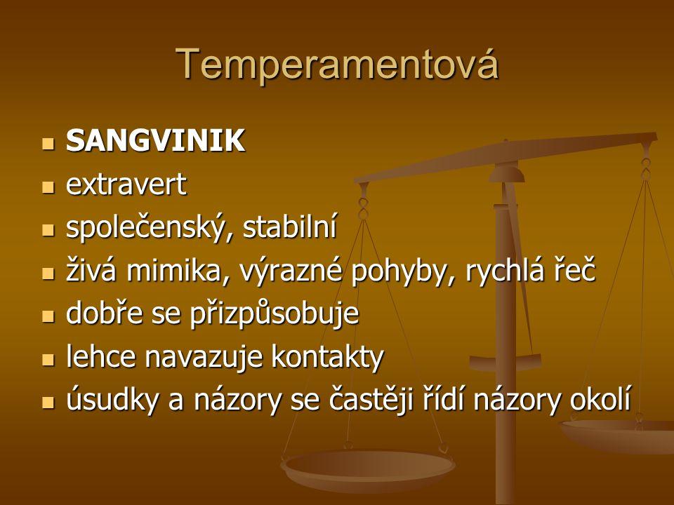 Temperamentová SANGVINIK extravert společenský, stabilní