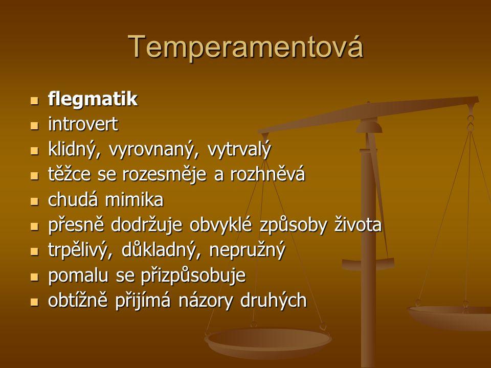 Temperamentová flegmatik introvert klidný, vyrovnaný, vytrvalý