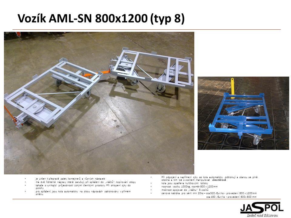 Vozík AML-SN 800x1200 (typ 8) je určen k přepravě palet, kontejnerů a různých nástaveb.