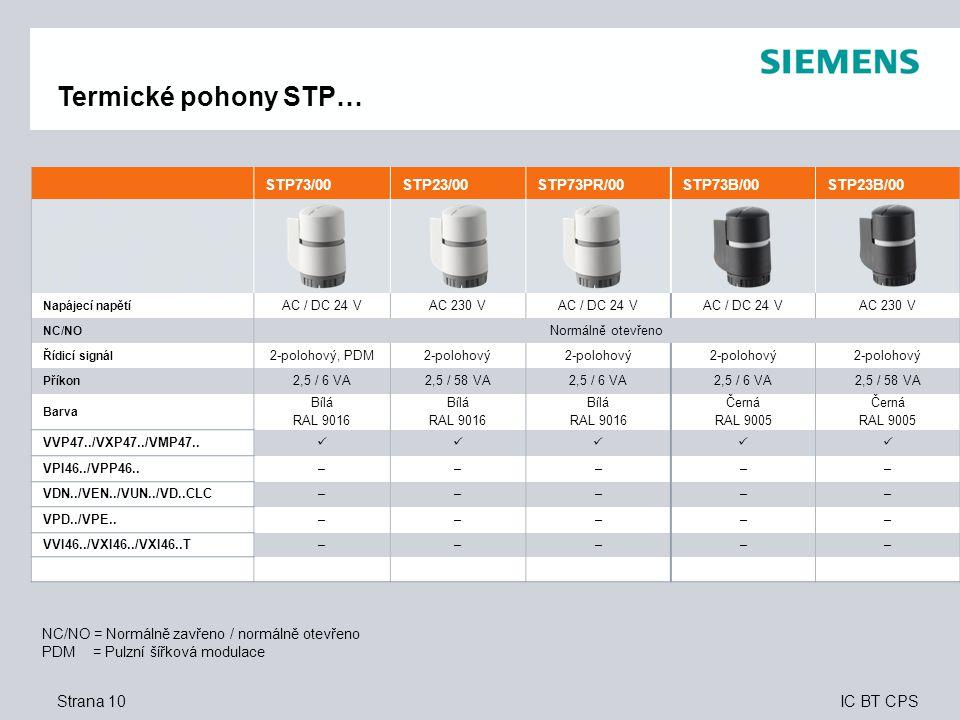Termické pohony STP… Strana 10 10 STP73/00 STP23/00 STP73PR/00