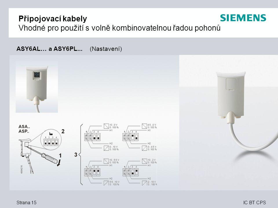 Připojovací kabely Vhodné pro použití s volně kombinovatelnou řadou pohonů