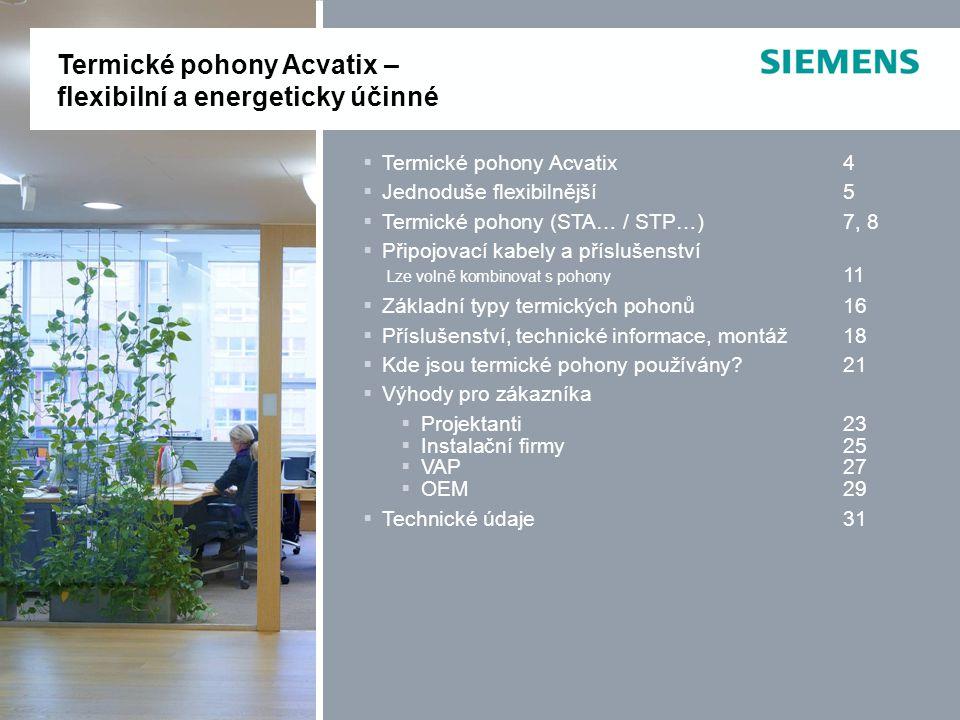 Termické pohony Acvatix – flexibilní a energeticky účinné