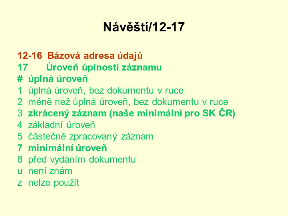 Návěští/12-17 12-16 Bázová adresa údajů 17 Úroveň úplnosti záznamu