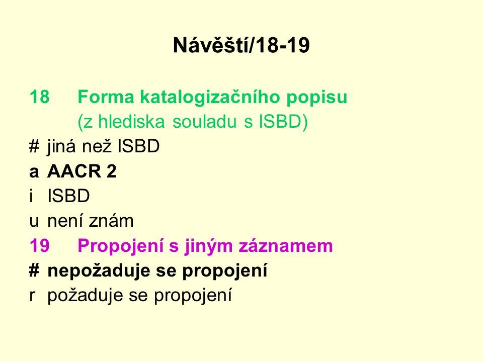 Návěští/18-19 18 Forma katalogizačního popisu