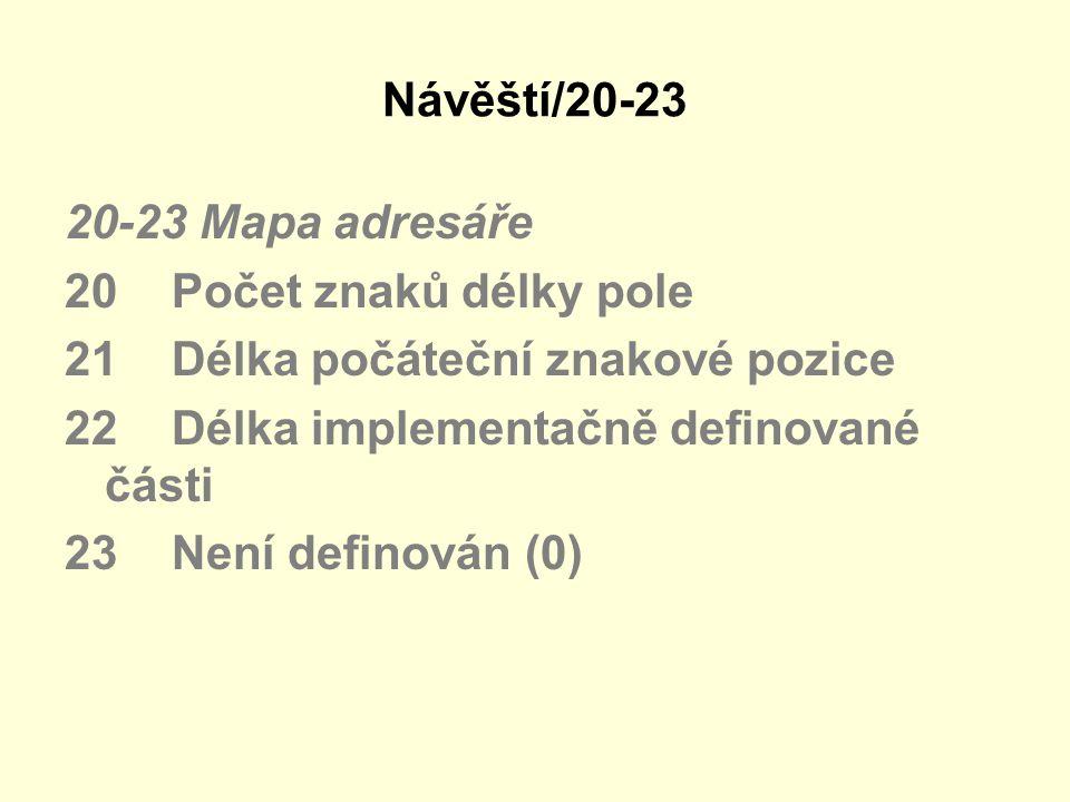 Návěští/20-23 20-23 Mapa adresáře. 20 Počet znaků délky pole. 21 Délka počáteční znakové pozice.