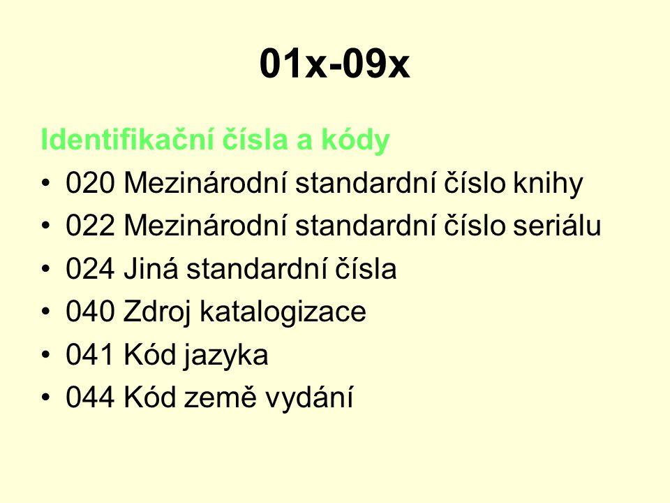 01x-09x Identifikační čísla a kódy