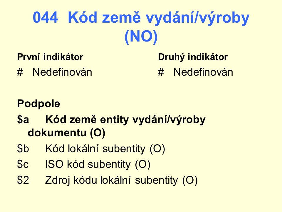 044 Kód země vydání/výroby (NO)