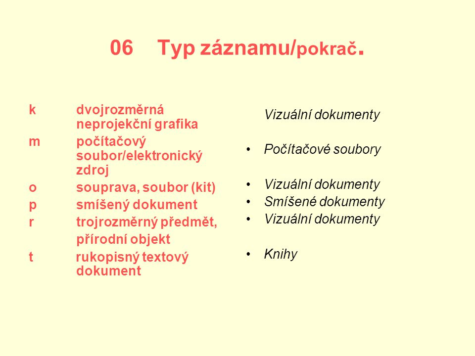 06 Typ záznamu/pokrač. k dvojrozměrná neprojekční grafika