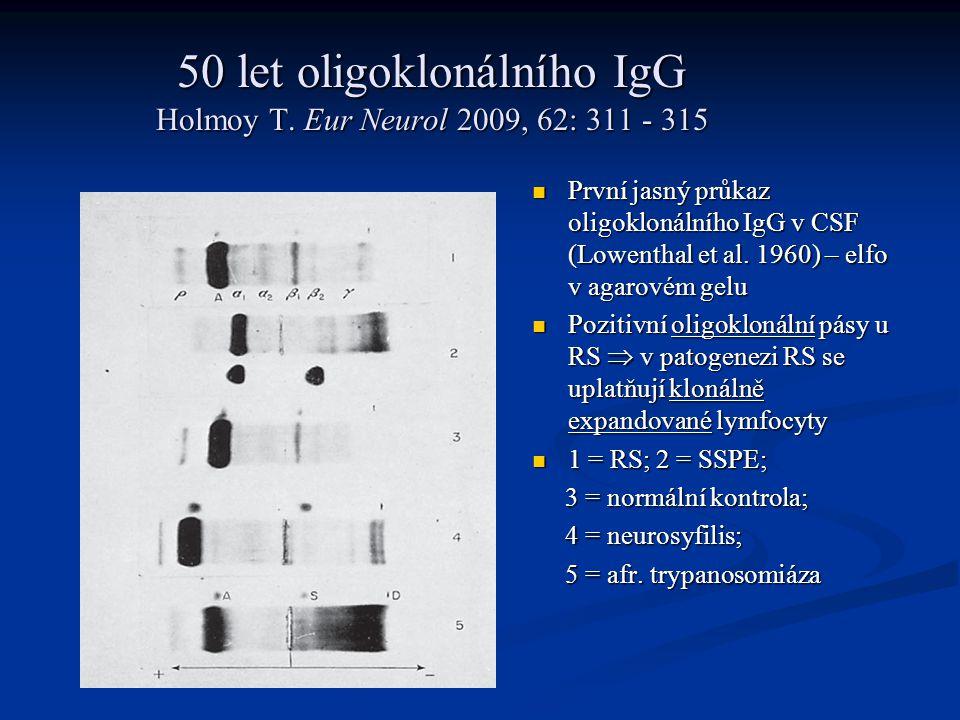50 let oligoklonálního IgG Holmoy T. Eur Neurol 2009, 62: 311 - 315