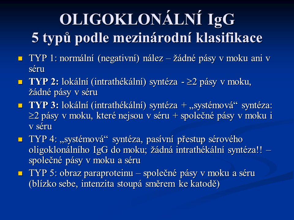 OLIGOKLONÁLNÍ IgG 5 typů podle mezinárodní klasifikace