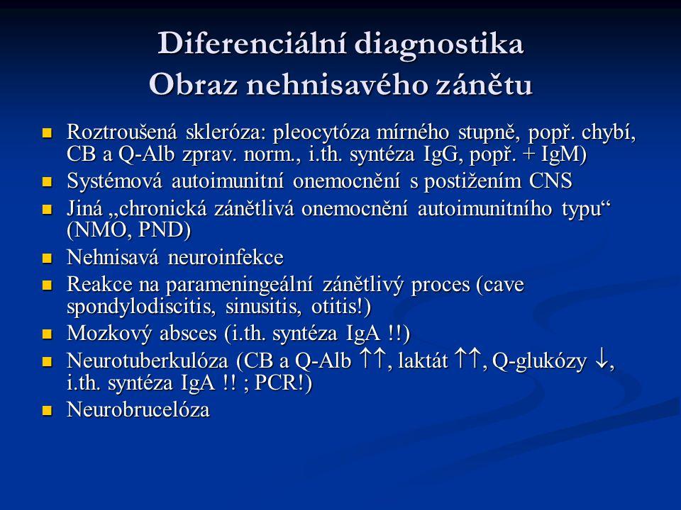 Diferenciální diagnostika Obraz nehnisavého zánětu