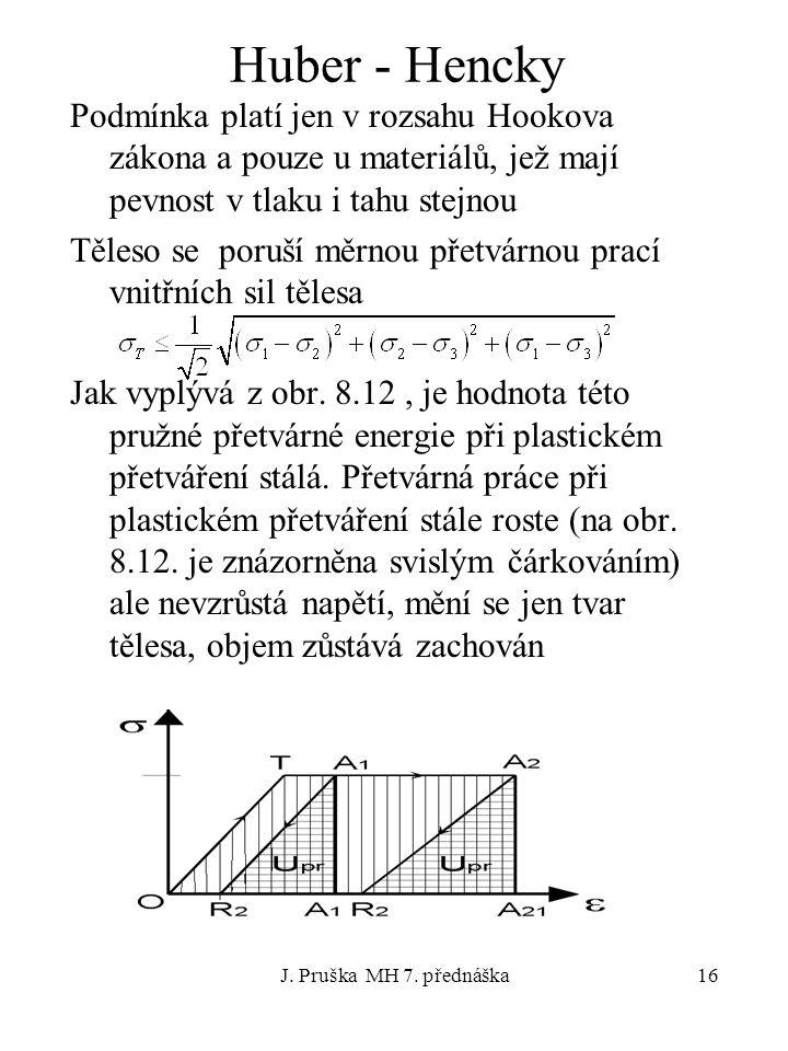 Huber - Hencky Podmínka platí jen v rozsahu Hookova zákona a pouze u materiálů, jež mají pevnost v tlaku i tahu stejnou.