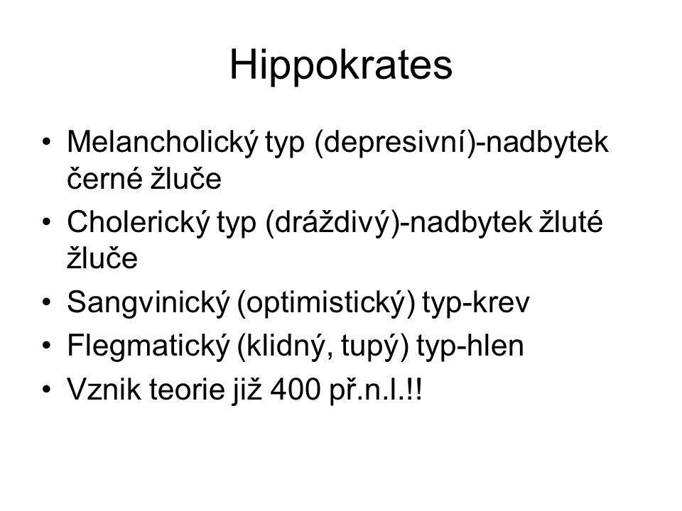 Hippokrates Melancholický typ (depresivní)-nadbytek černé žluče