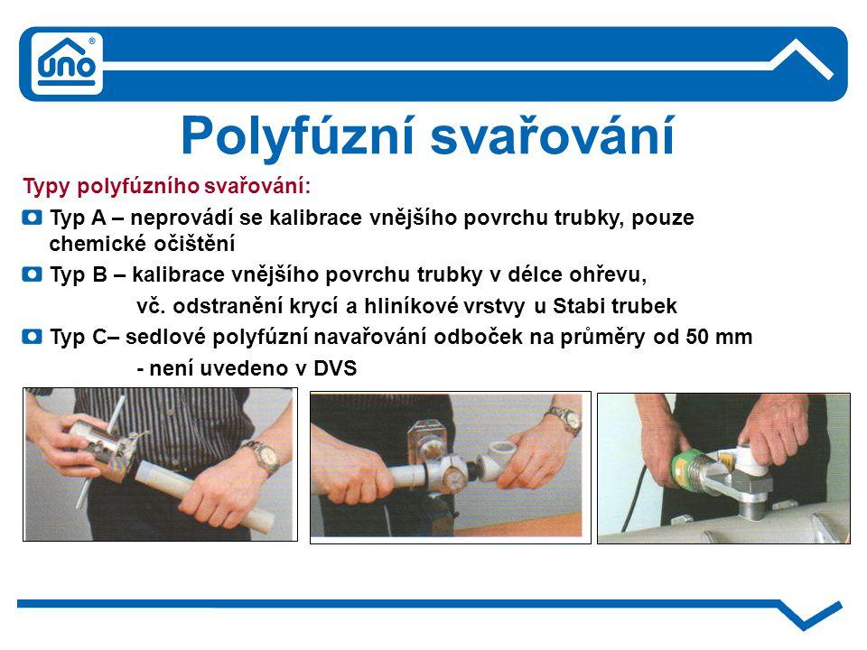 Polyfúzní svařování Typy polyfúzního svařování: