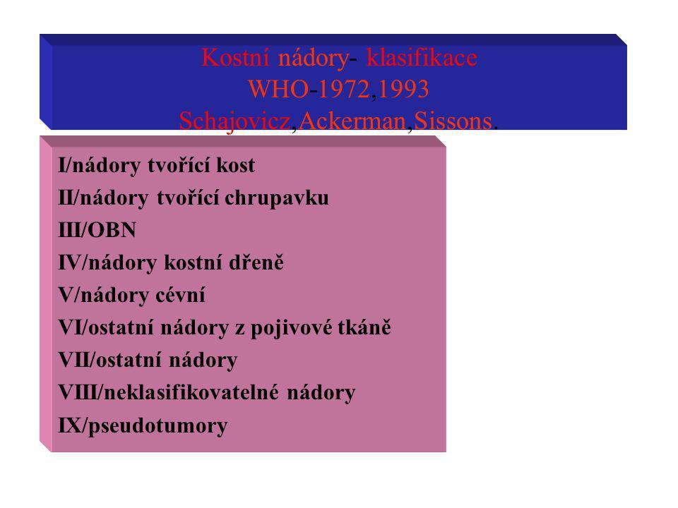 Kostní nádory- klasifikace WHO-1972,1993 Schajovicz,Ackerman,Sissons.
