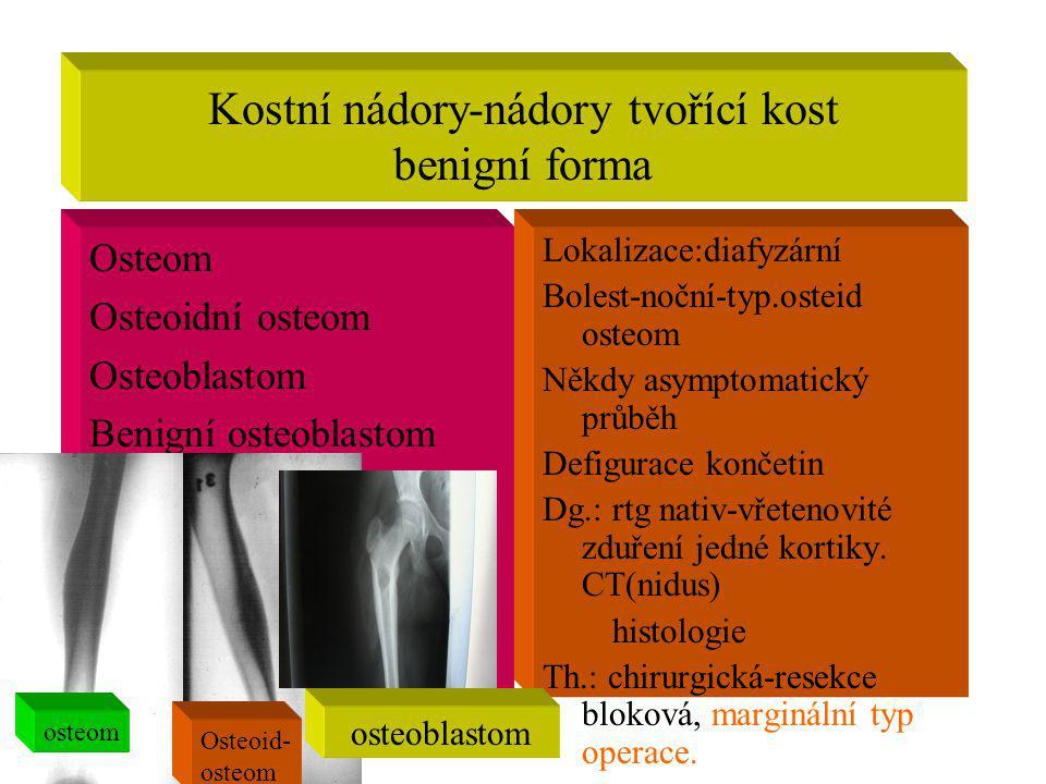 Kostní nádory-nádory tvořící kost benigní forma