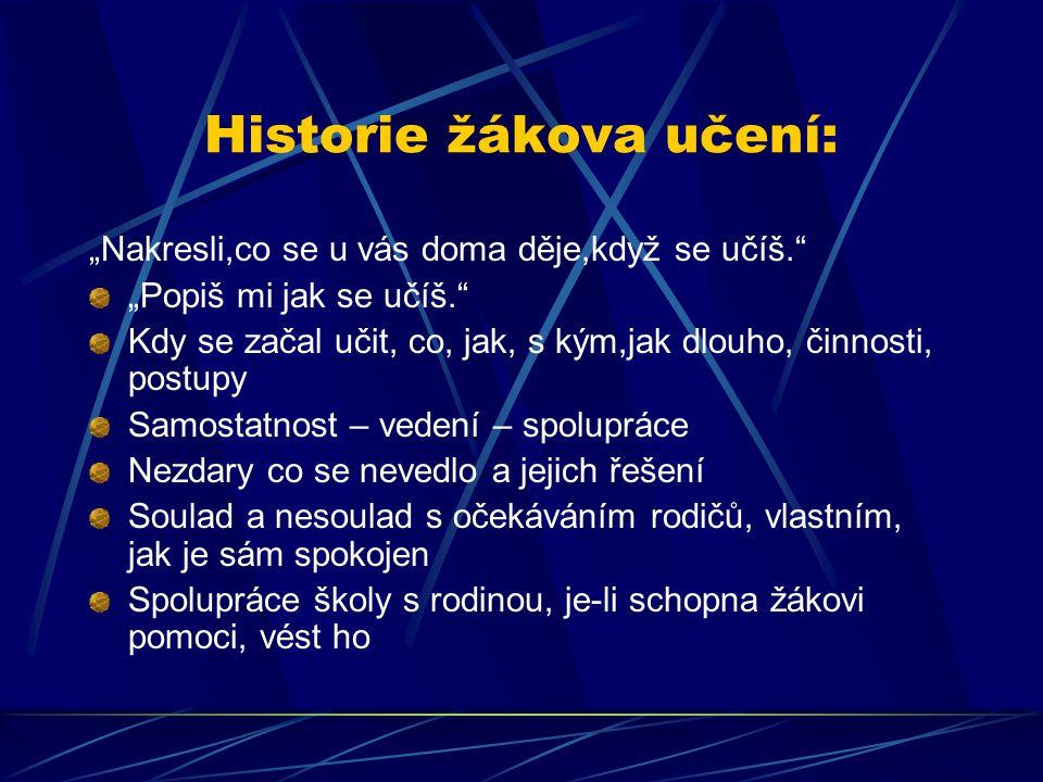 Historie žákova učení: