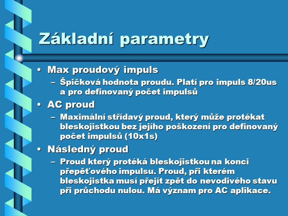Základní parametry Max proudový impuls AC proud Následný proud