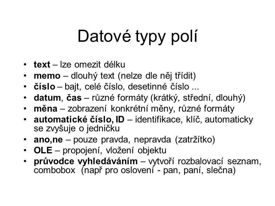 Datové typy polí text – lze omezit délku