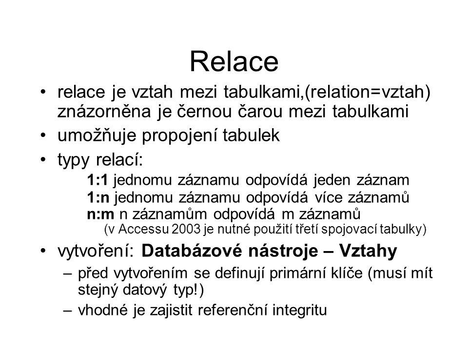 Relace relace je vztah mezi tabulkami,(relation=vztah) znázorněna je černou čarou mezi tabulkami. umožňuje propojení tabulek.