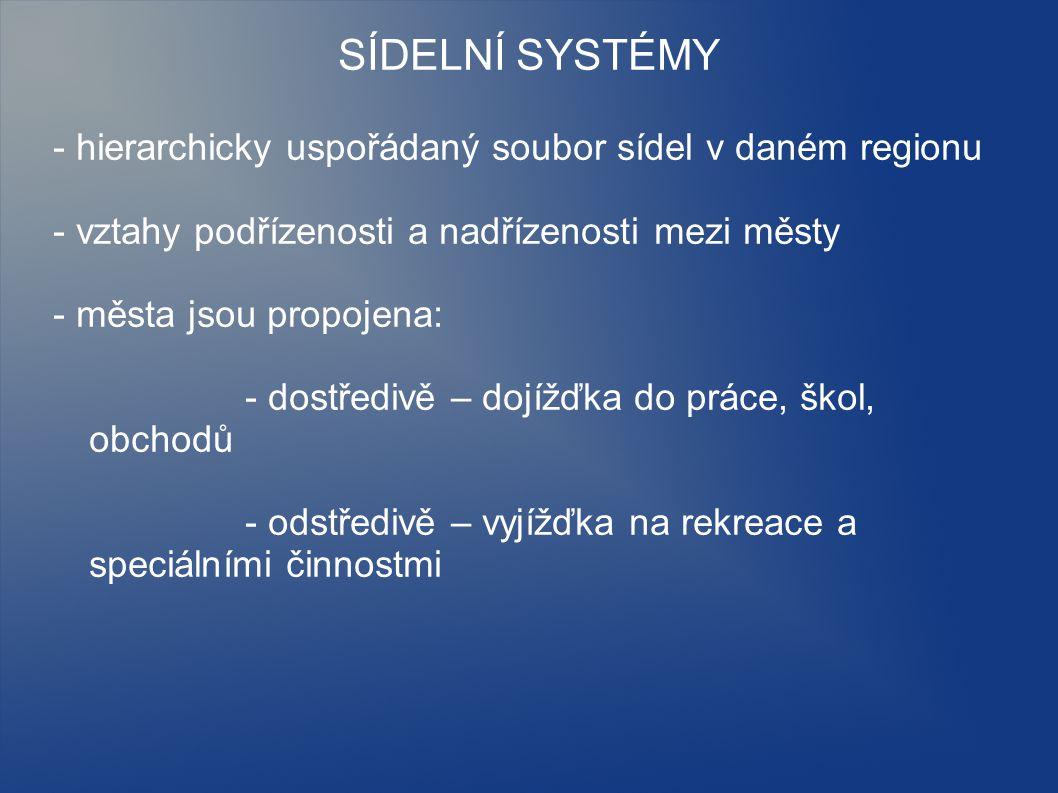 SÍDELNÍ SYSTÉMY - hierarchicky uspořádaný soubor sídel v daném regionu