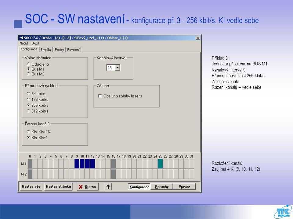 SOC - SW nastavení - konfigurace př. 3 - 256 kbit/s, KI vedle sebe