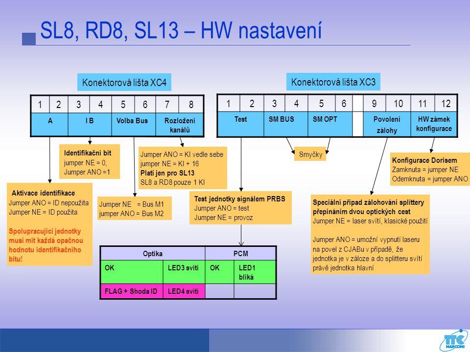 SL8, RD8, SL13 – HW nastavení Konektorová lišta XC4
