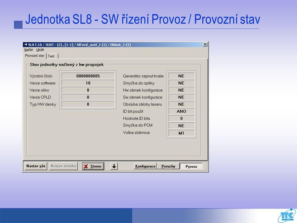 Jednotka SL8 - SW řízení Provoz / Provozní stav